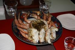 夕食 活毛蟹の酒蒸し