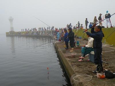尾岱沼漁港の混雑