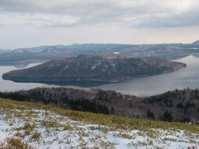 まだ凍ってない屈斜路湖