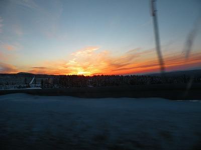 美幌峠の冬の日没