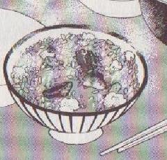 うなぎと高菜と卵の混ぜご飯図