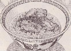 貝柱のおじや牡蠣の唐揚げのせ図
