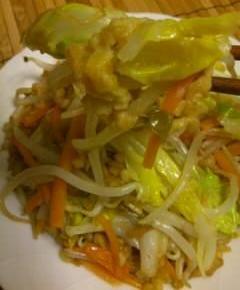 天カス野菜炒め10