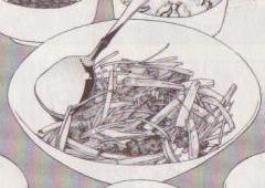セロリと牛肉のオイスターソース炒め図