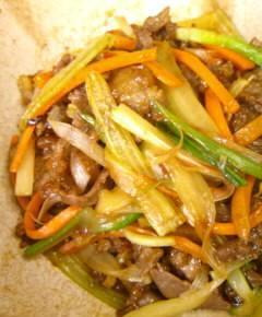 セロリと牛肉のオイスターソース炒め10