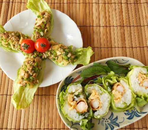 レタス巻き寿司とピリ辛挽肉サラダ16
