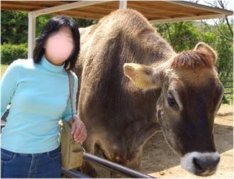 大きなジャージー牛と(*^_^*)