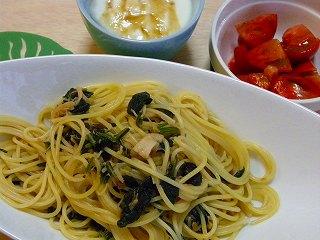 ホタテと小松菜の和風パスタ