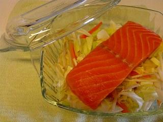 サーモンと野菜のレンジ蒸し