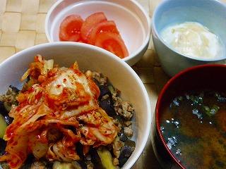ナスとひき肉の味噌炒め丼