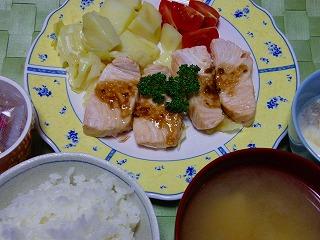 サーモンと野菜蒸