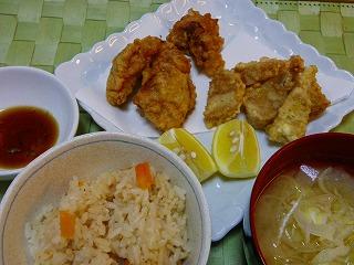 鶏とたけのこの天ぷら