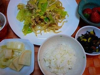 卵入り肉野菜炒め