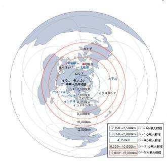 北京中心弾道ミサイル射程図
