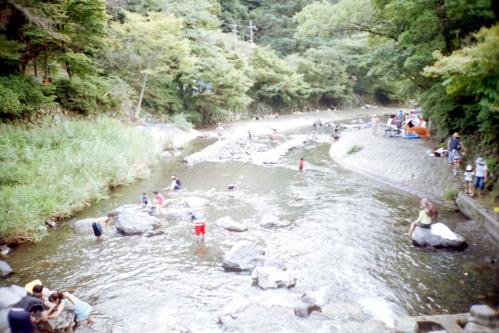 高野川で水遊び