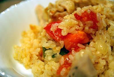 パエリア チキンとトマト