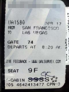 ラスベガス行きチケット