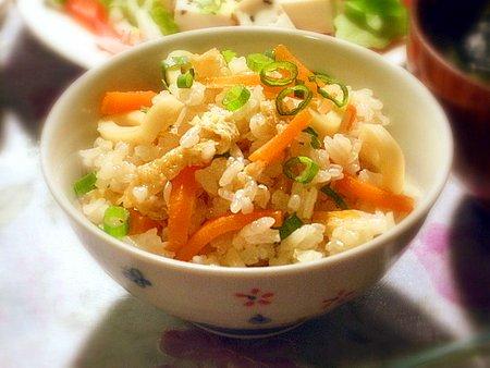 イカとにんじんの炊き込みご飯 2