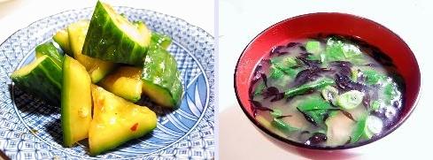 きゅうりの醤油漬け&味噌汁