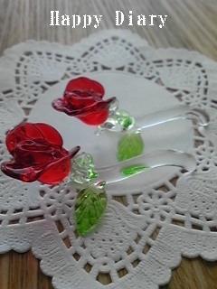 ガラスのバラのお箸置き
