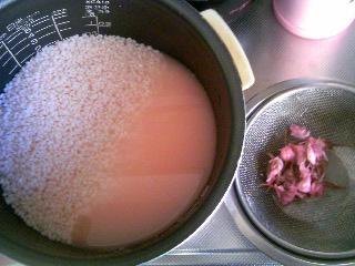 桜おこわ炊く前