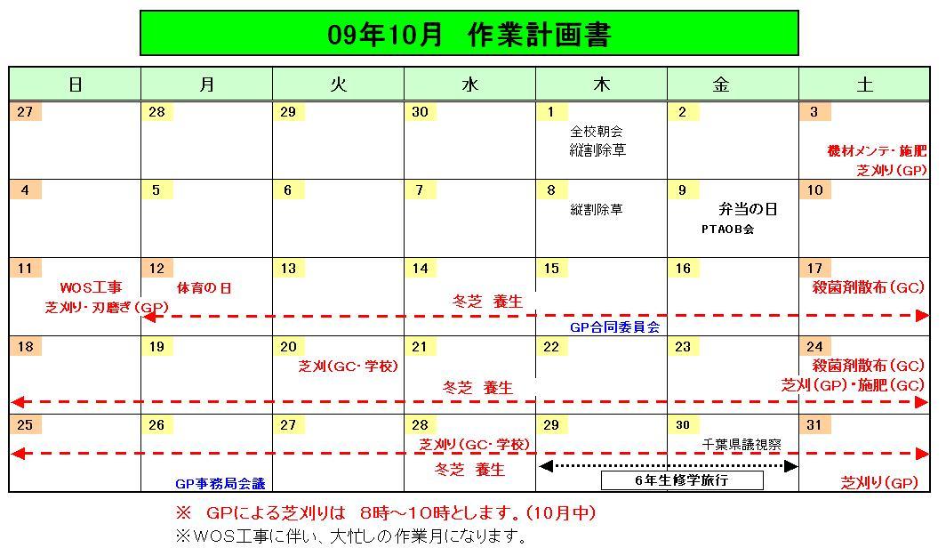 10月作業計画書