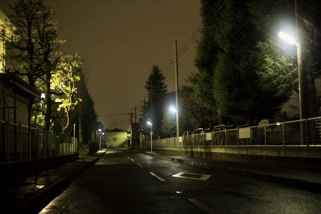 帰り道、雨の中1