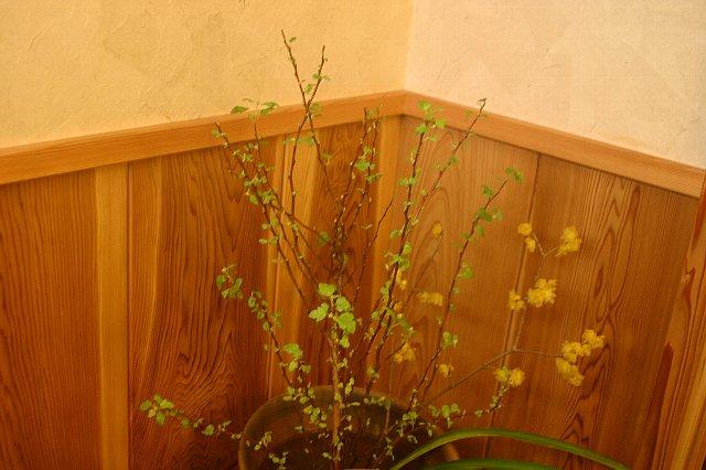 雪景色と店内の花 012