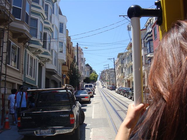 Riding on a cable car