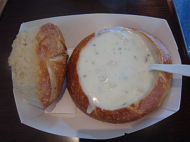 Clam Chowder in Sourdough Bread