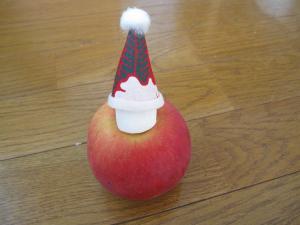 りんごに頭を指したとこ