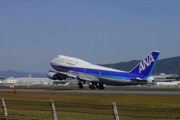 ANA B747-481D@スカイパーク建設前西水門付近(by Cyber Shot DSC-P5)