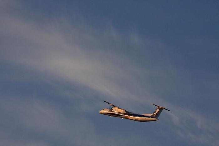 ANA DHC-8-Q400 ANA1639@北河原・豊能運送付近猪名川土手(by 40D with EF100-400/4.5-5.6L IS)