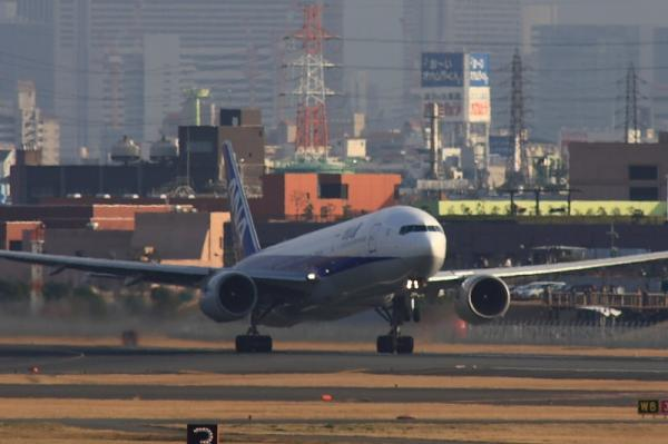 ANA B777-281 NH32@下河原緑地公園(by 40D with SIGMA300/2.8EX+APO TELE×2)
