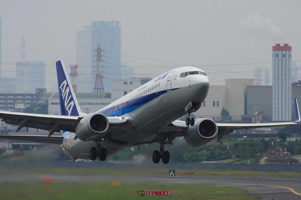 ANA B737-881 ANA167@下河原緑地展望台(by 40D with SIGMA300/2.8EX+APO TC2x)