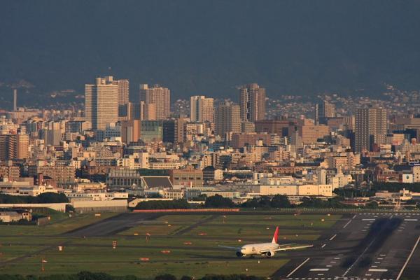 大阪の街並み&JAL B777-246 JAL131@山手台南公園(by 40D with SIGMA300/2.8EX+APO TC2x)
