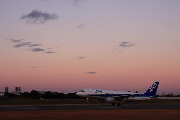 ANA A320 NH558@スカイランドHARADA(by 40D with SIGMA 18-50)