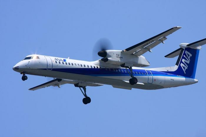 ANA DHC-8-Q400 ANA1836@千里川土手(by 40D with EF100-400/4.5-5.6L IS)