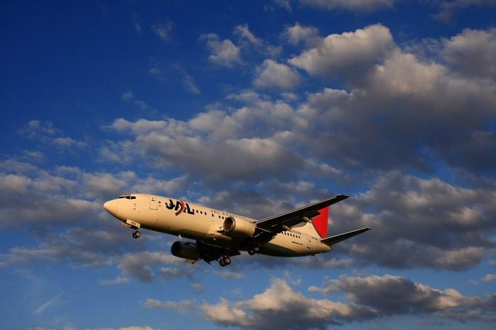 JEX B737-446 JAL3005@千里川土手(by 40D with SIGMA 18-50/2.8EX)