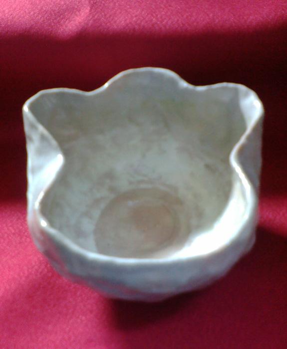 桃灰釉猫手茶碗