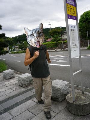 バス停でやまねこ
