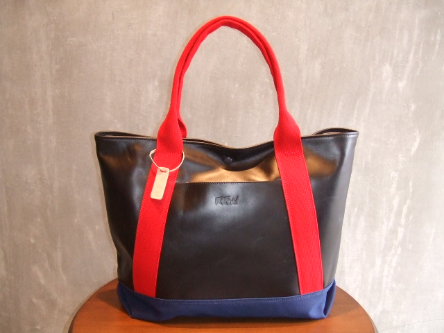 RFW LEATHER&CANVAS MID TOTE BK&RD
