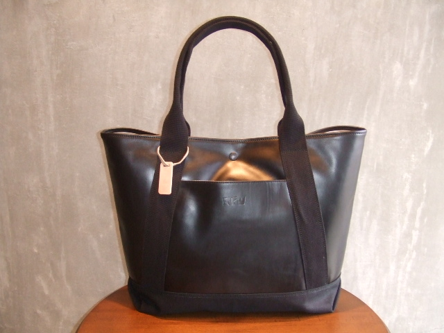 RFW LEATHER&CANVAS MID TOTE BK&BK