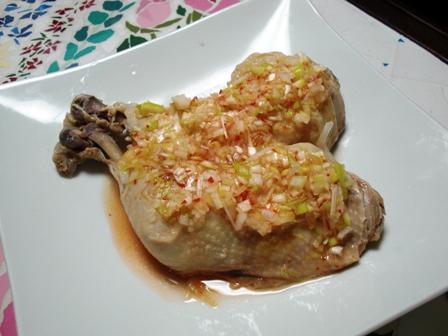 茹で鶏*ピリ辛ゆず葱酢