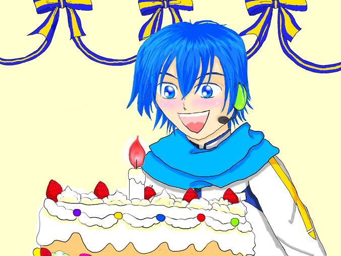誕生日ケーキににっこり♪