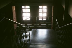 階段から外を望む
