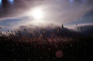 雲の奥から見える太陽