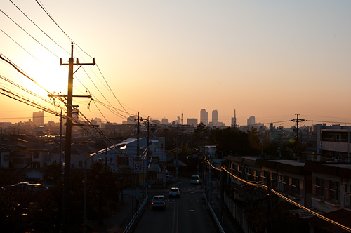 茶屋ヶ坂公園歩道橋から見る夕景