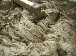 練った粘土のアップ