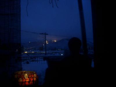 露天五右衛門風呂からの夜景-冬景色